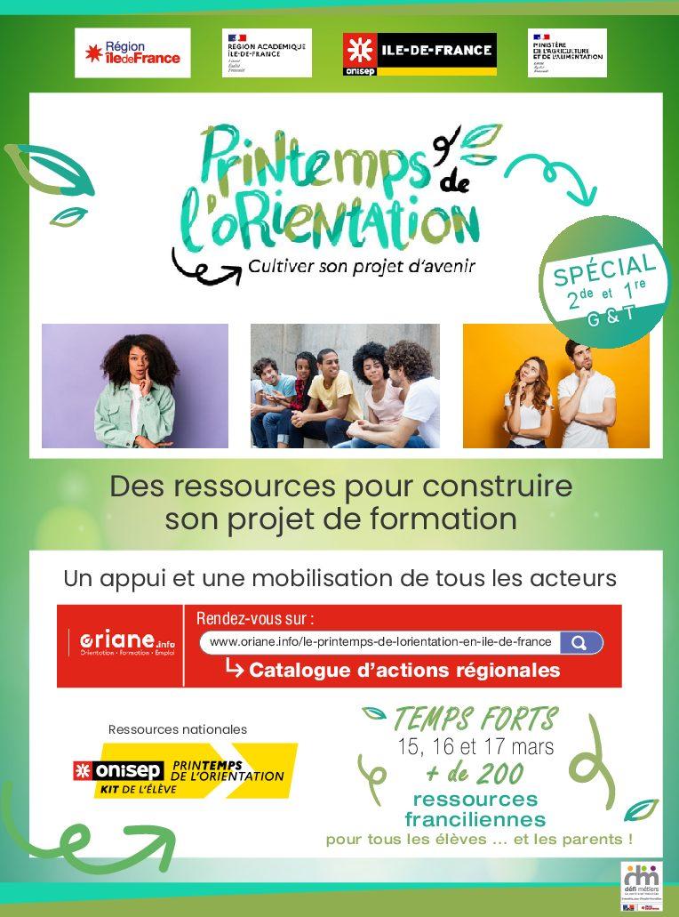 Le Printemps de l'orientation en Ile de France – Elèves de 2GT et 1GT